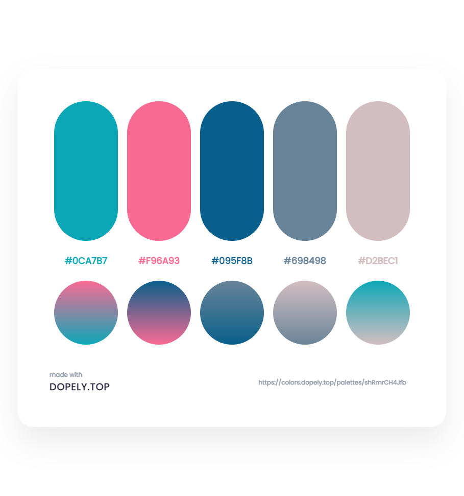 Elegant Color Palette With Their Gradient for app design - ِDopely Inspiration