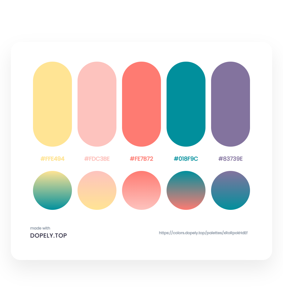 Elegant Color Palette With Their Gradient for branding design - ِDopely Inspiration
