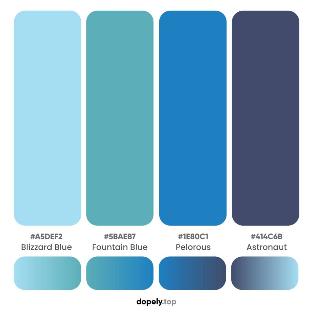 A blue color palette to give bigger feeling in design with names & hex codes