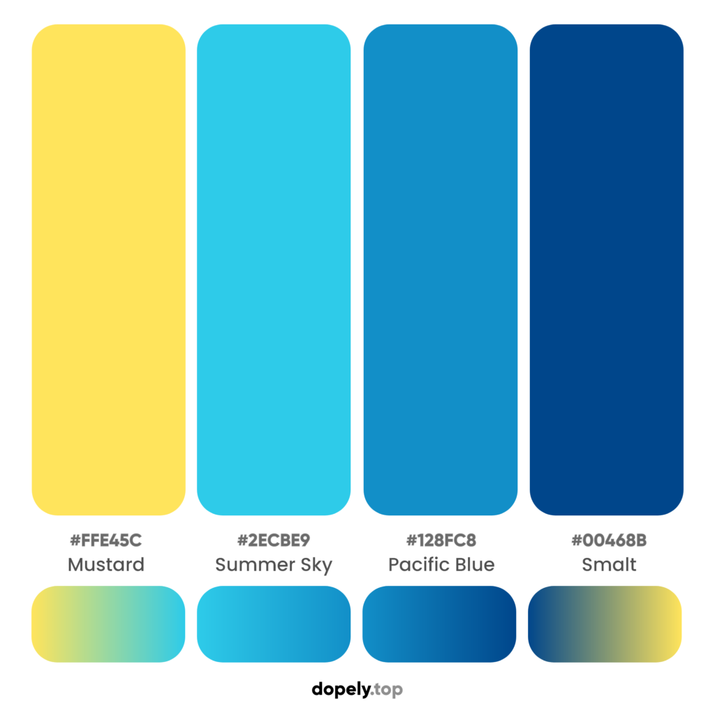 A blue color combination with yellow to make a complementary with names & hex codes