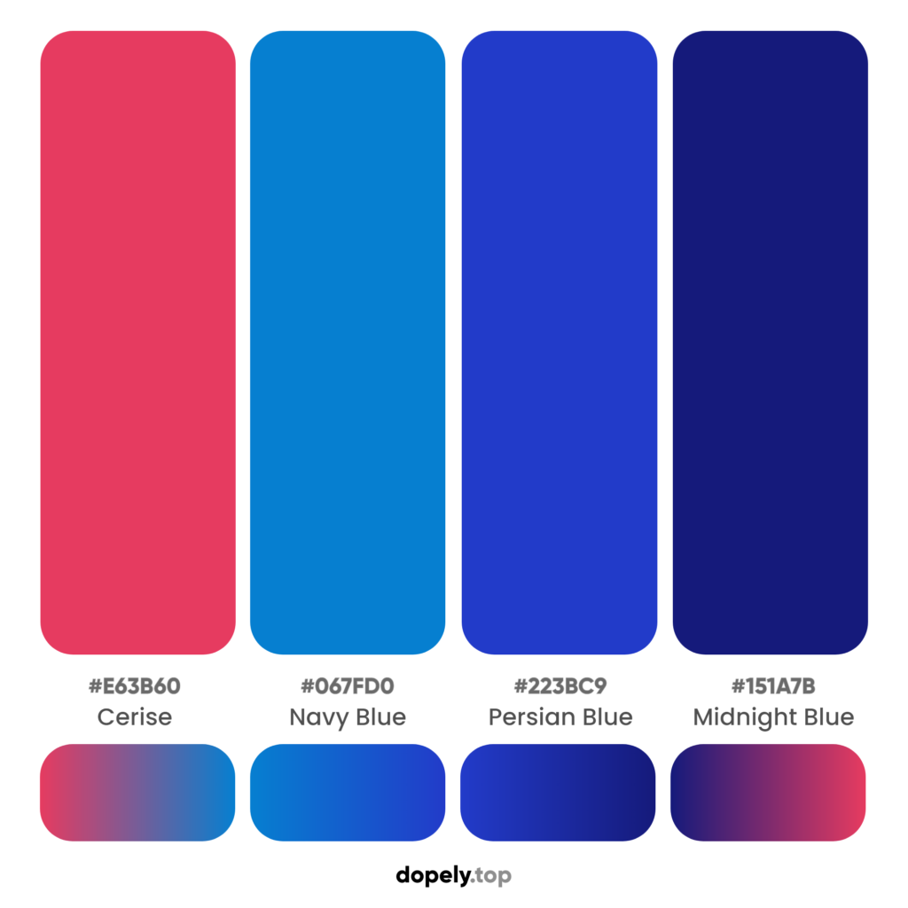 warm but blue color palette inspiration with names & hex codes