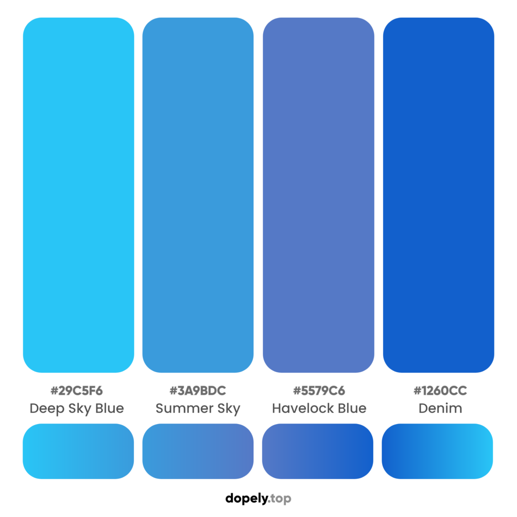 Most brands use blue color palette to impress trust and confidence with names & hex codes