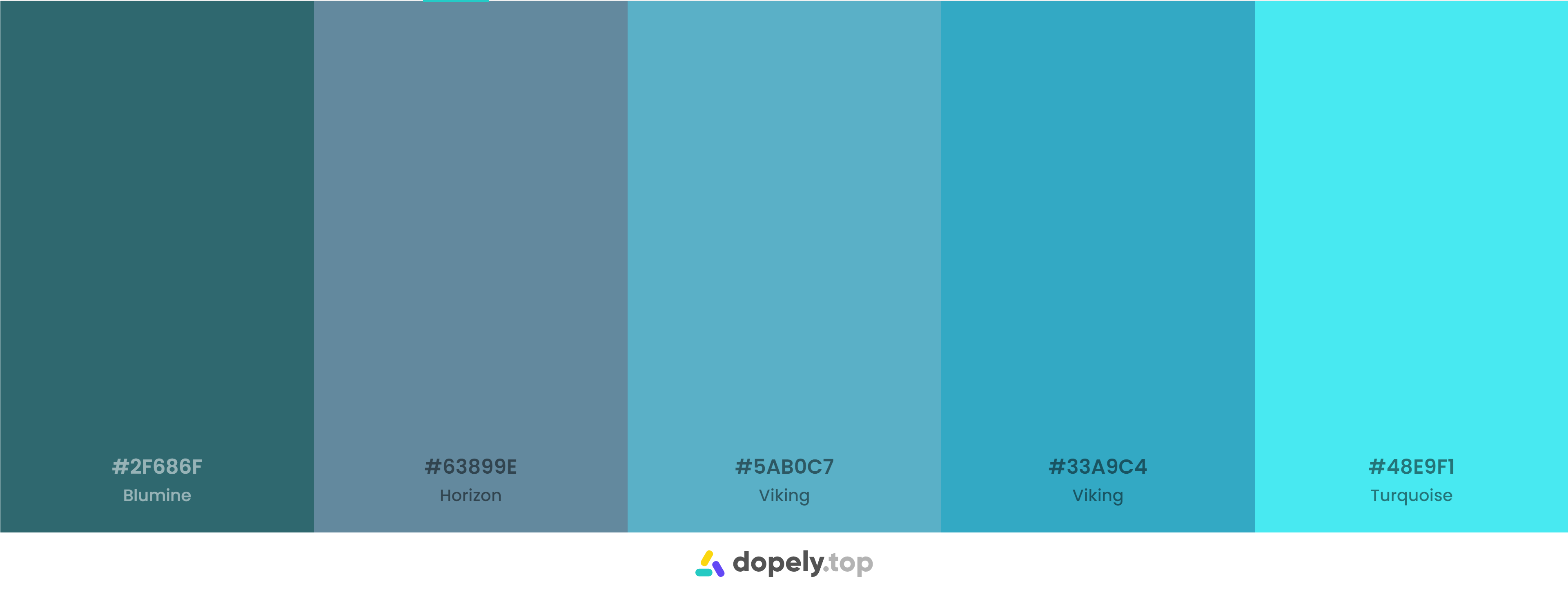 A blue color palette inspiration with names & hex codes