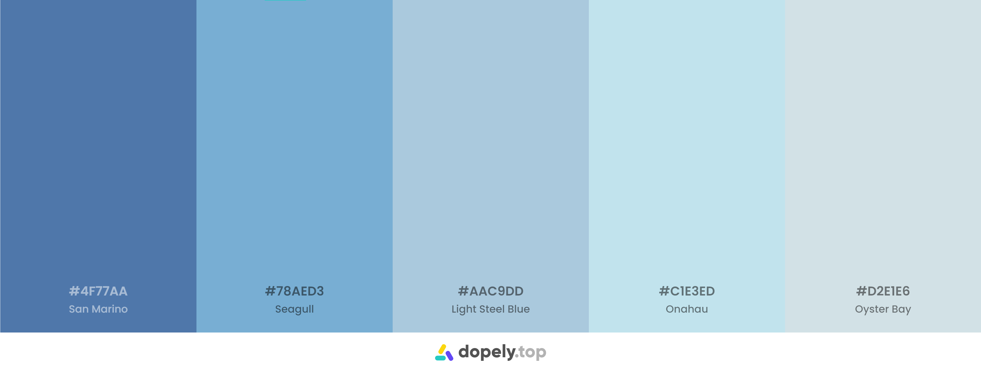 A blue pastel color palette inspiration with names & hex codes