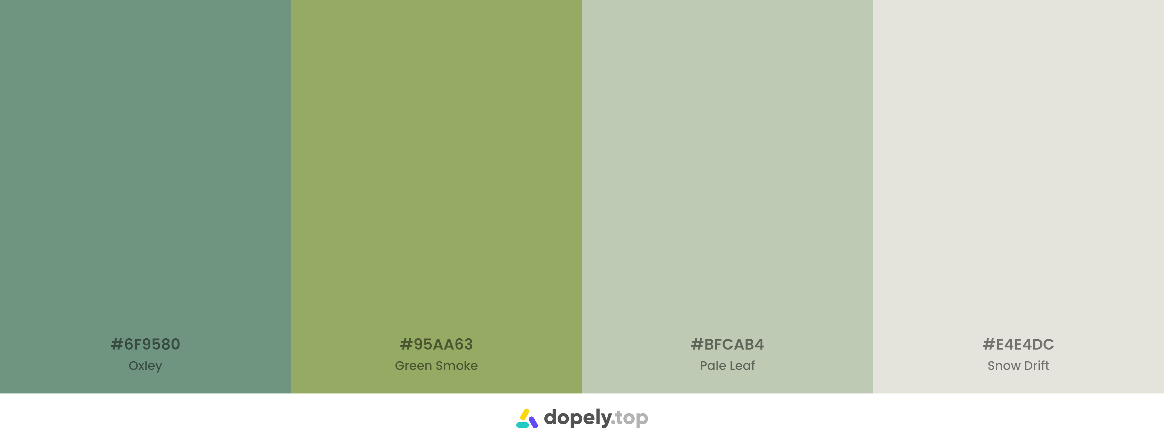 non saturated Green Color Palette Inspirations with Names & hex Codes