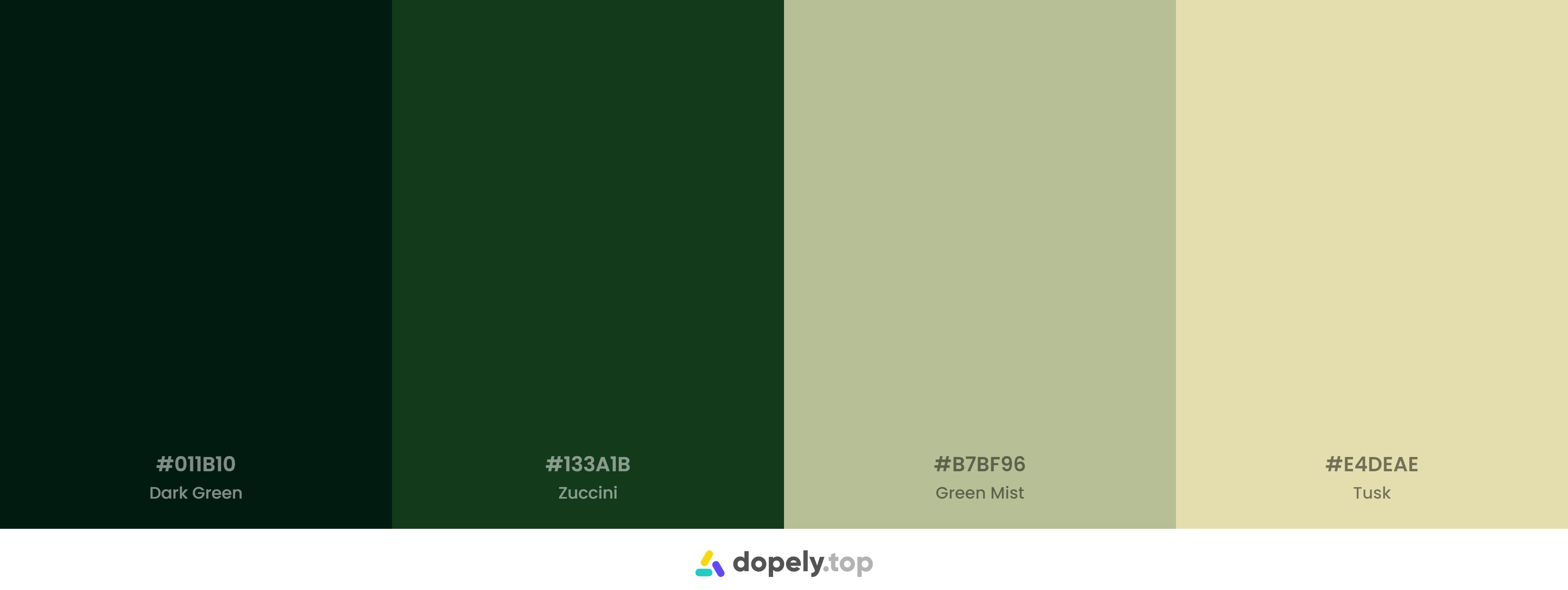 A beautiful Green Color Palette Inspirations with Names & hex Codes