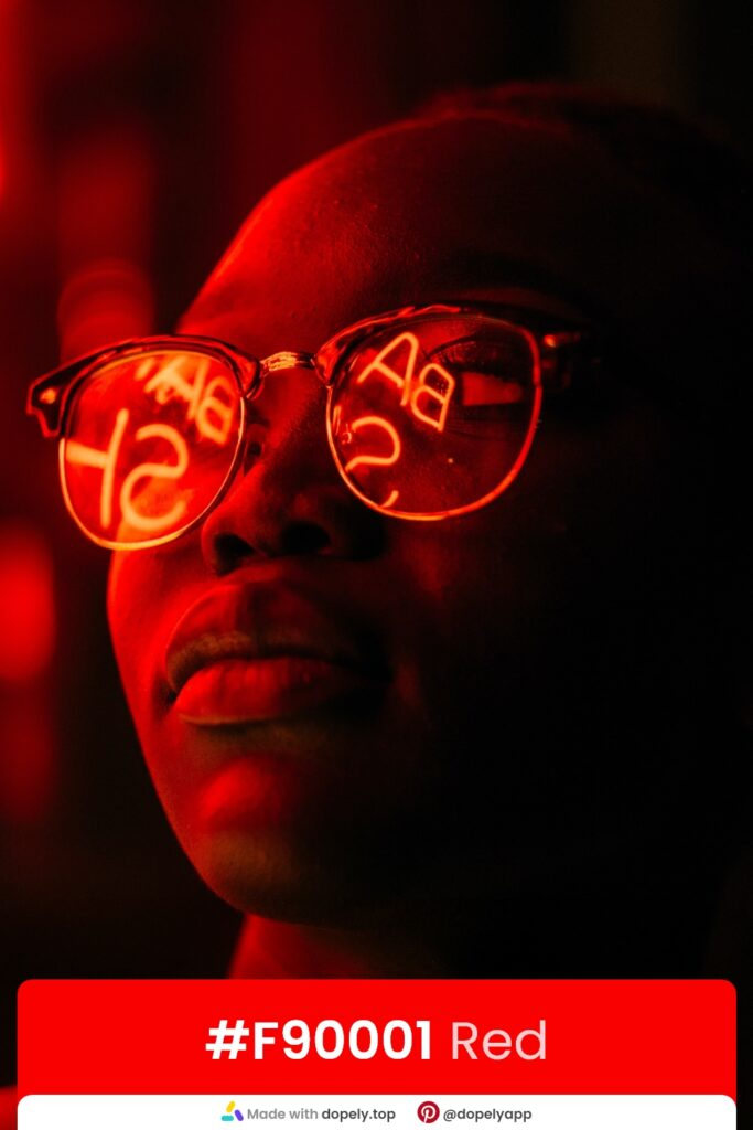 Red neon light on eye glasses by dopely.top