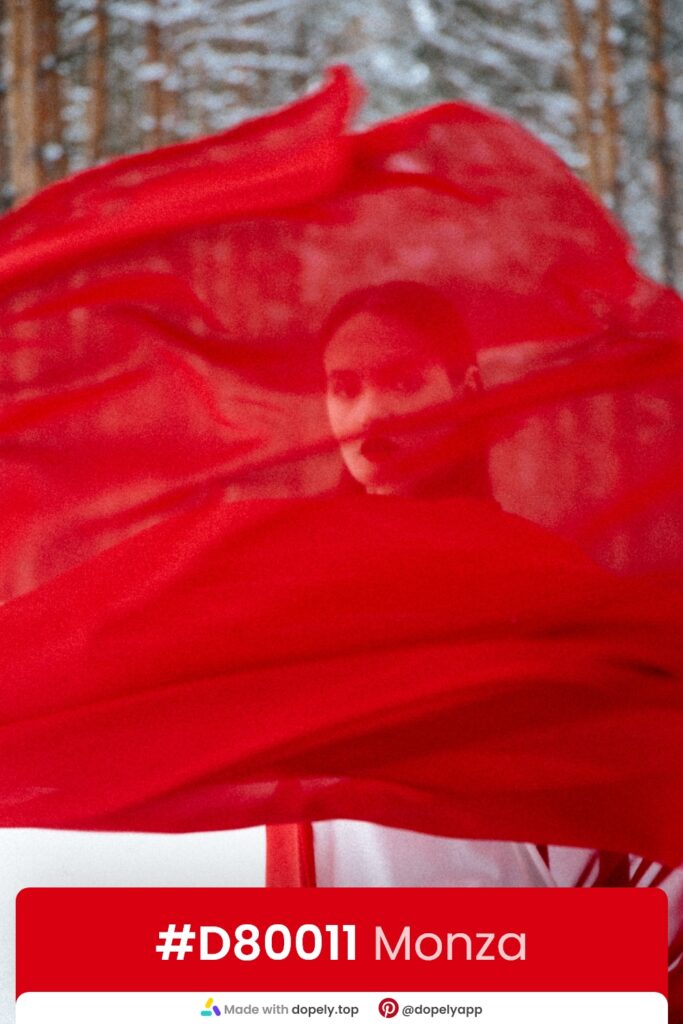 Red scarf and girl and personality of red color by dopely.top
