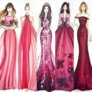burgundy color in fashion sketch