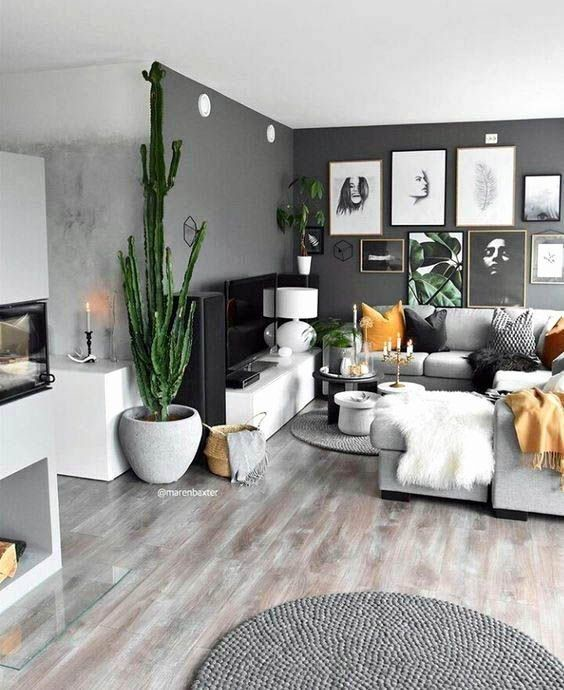 gray wall for the living room