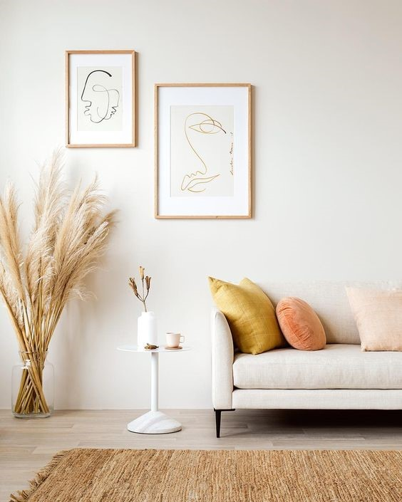 white wall for the living room