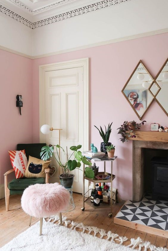 pink wall for the living room