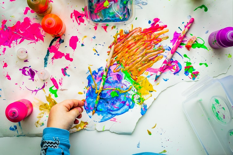 the creative combination of colors made by a child