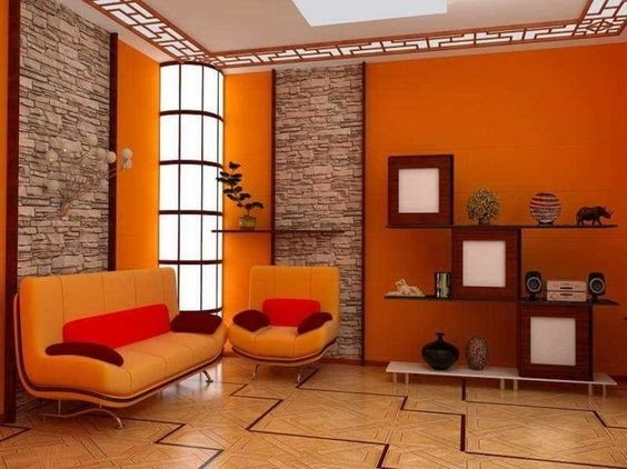orange wall for the living room