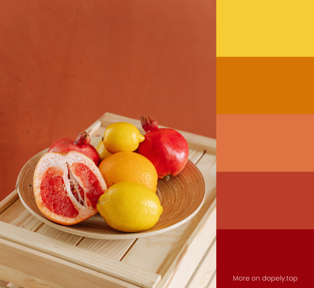 fruits plate with yellow lemons and color palette by dopely.top