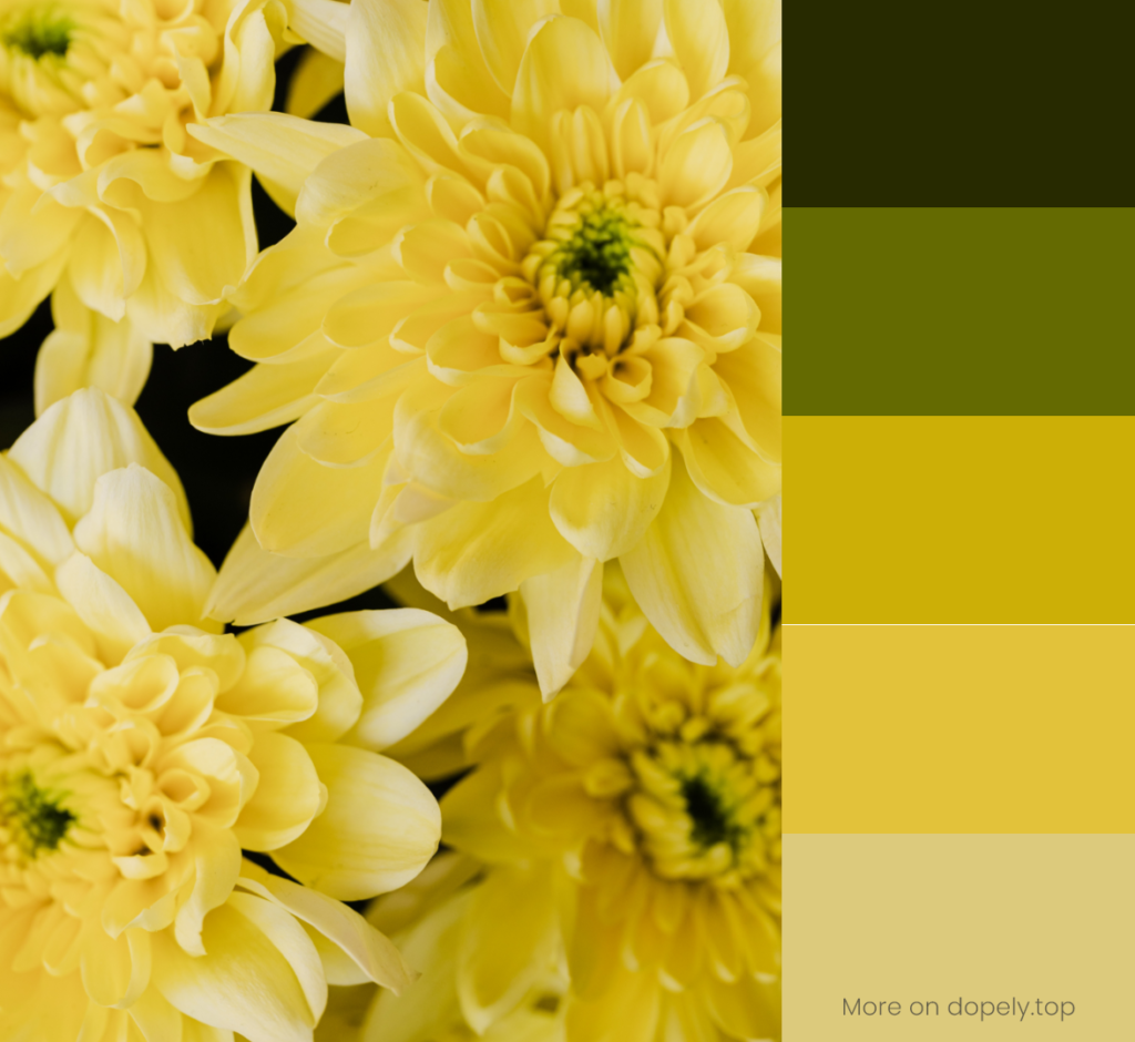yellow flowers and color palette by dopely.top