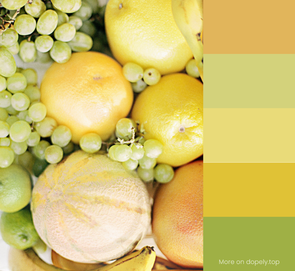 fruits in light colors and color palette by dopely.top