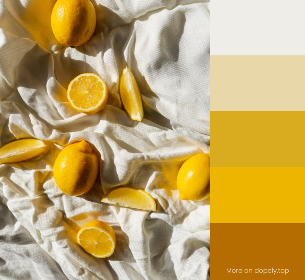 lemon slices on white textile and color palette by dopely.top