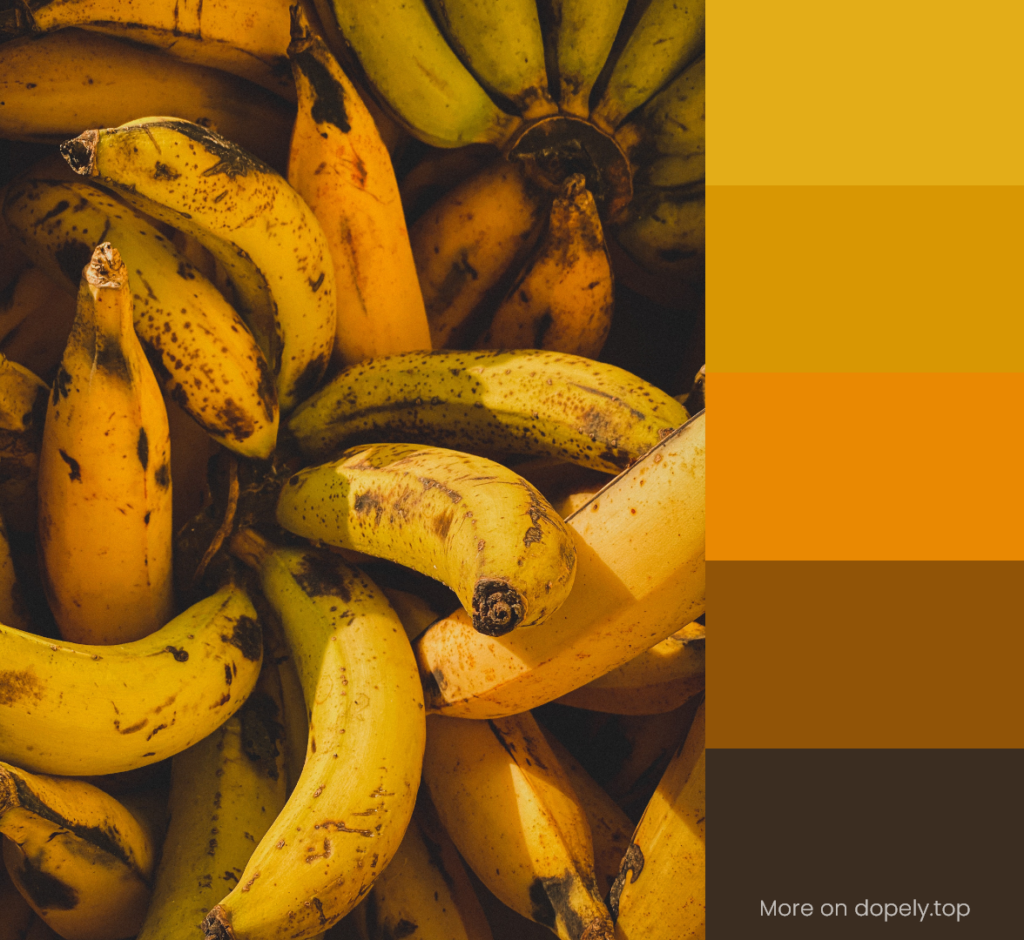 yellow bananas and color palette by dopely.top