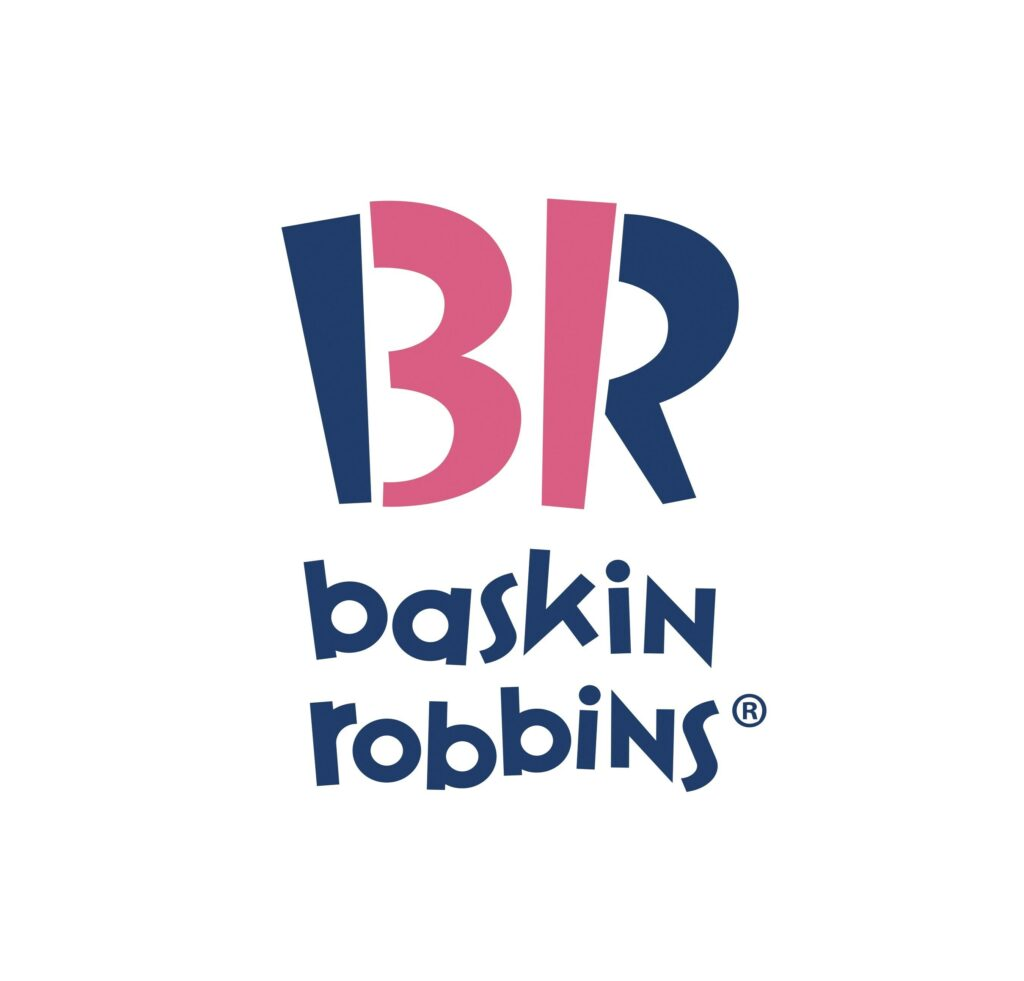 Delicate Pink and navy blue in baskin ribbons logo