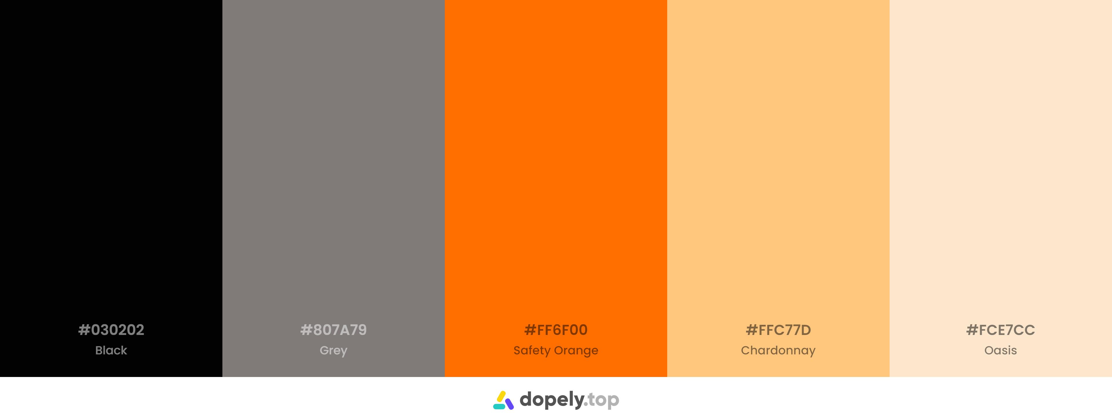 A modern and minimal orange based color palette