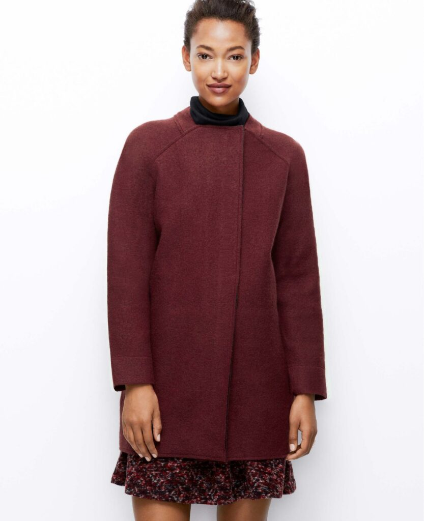 a girl with a coat in marsala