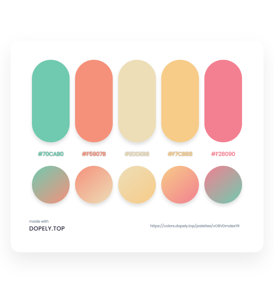 Sugary color palette with gradient