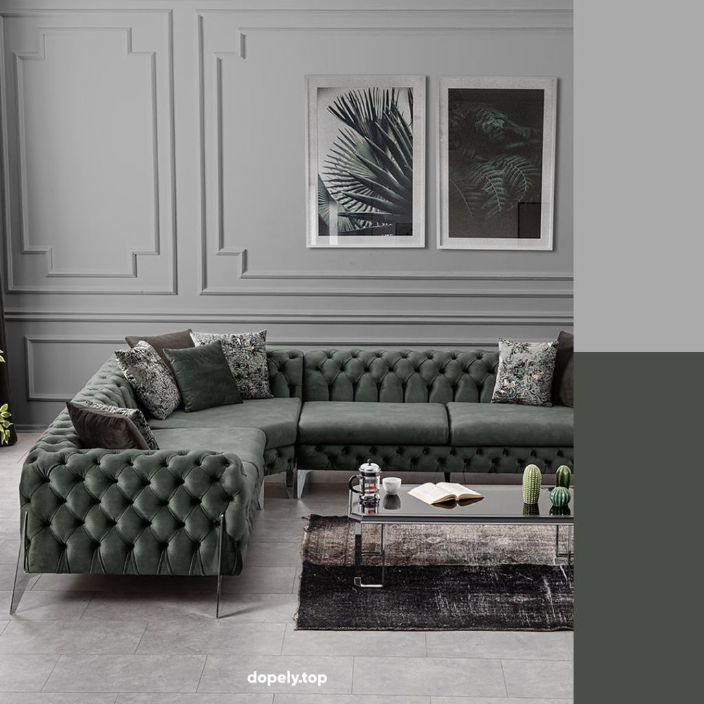 living room decoration with gray and color palette