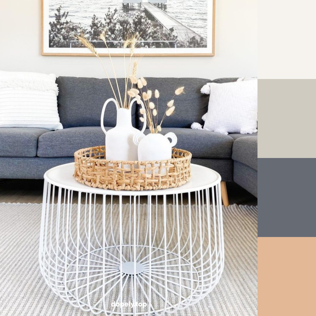 living room with gray coach and its color palette