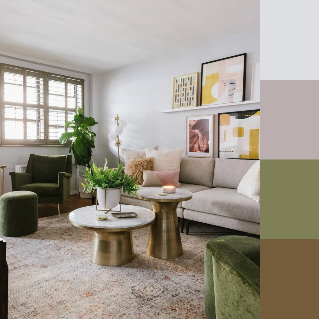 living room with green and its color palette