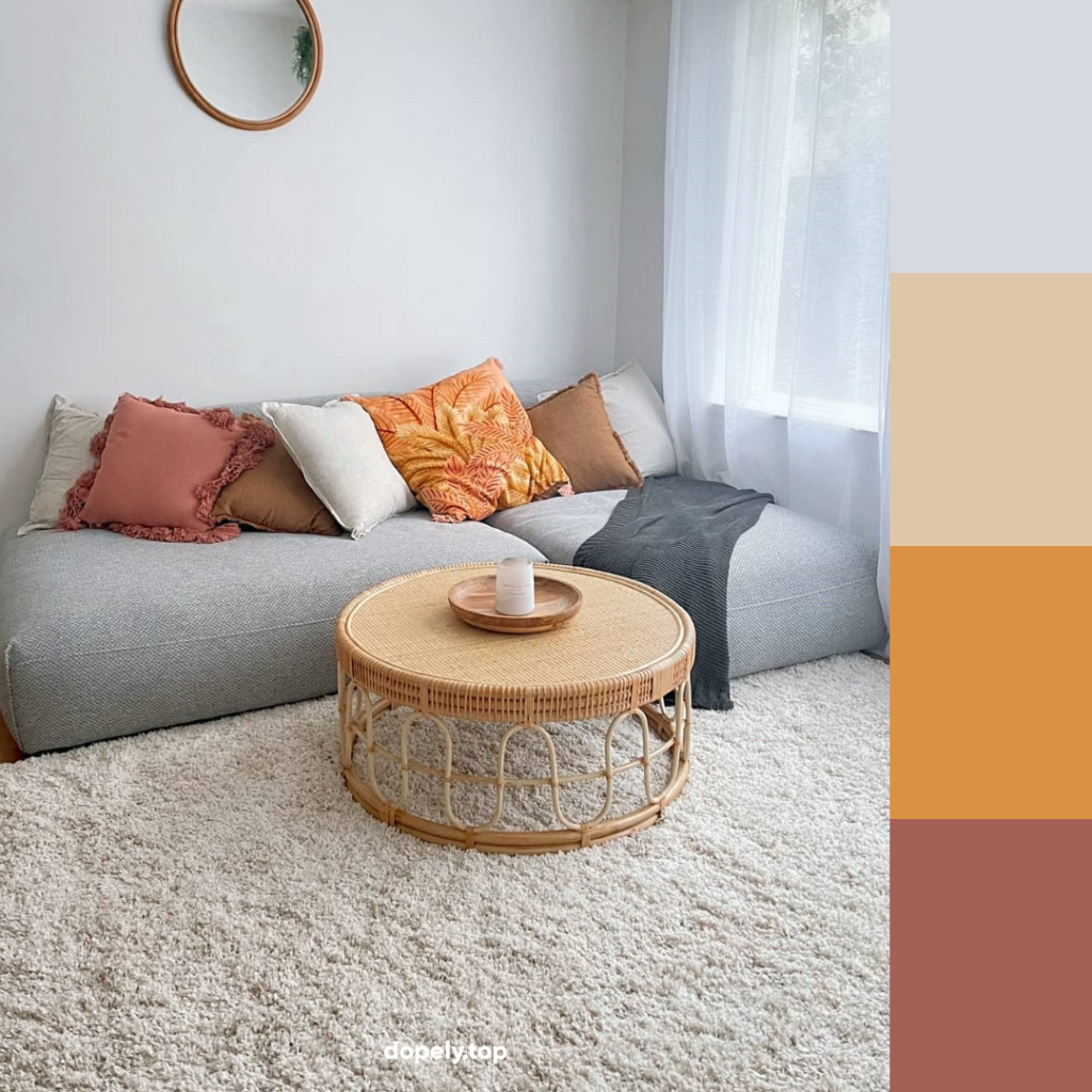 living room with orange and its color palette
