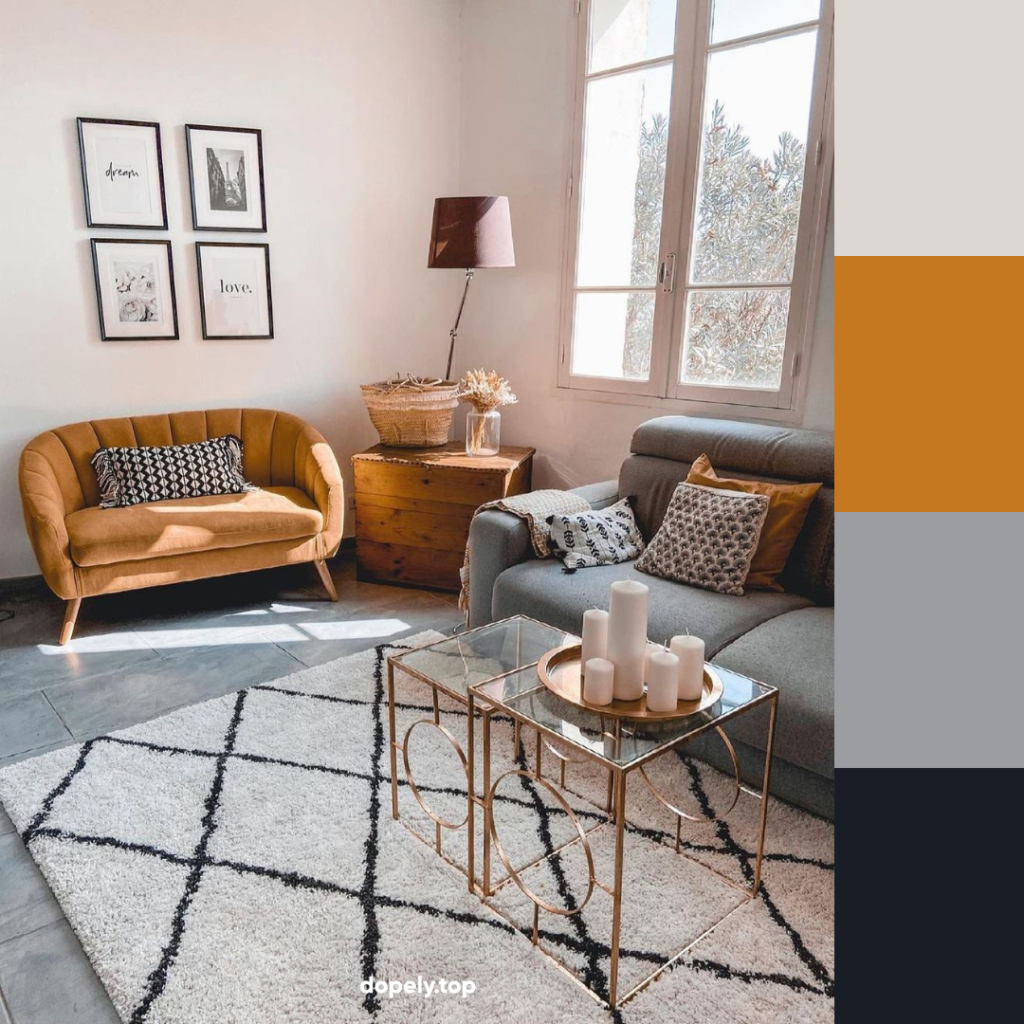 living room with orange coach and its color palette