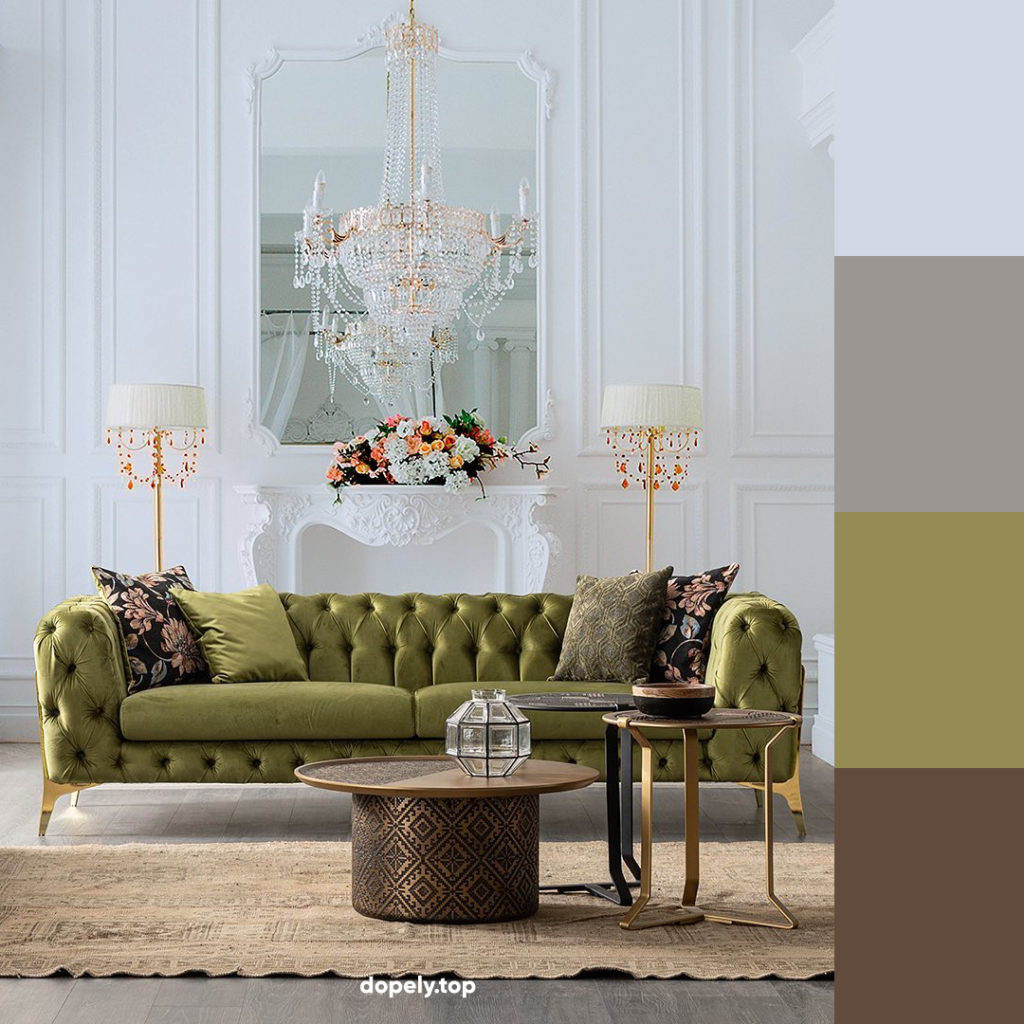 classic living room with green coach and its color palette