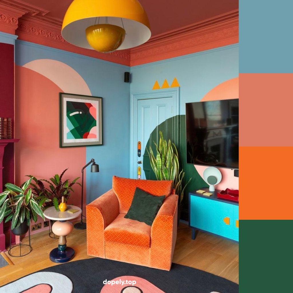 colorful living room decor and its color palette