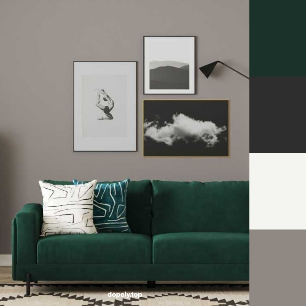 living room with green coach and its color palette