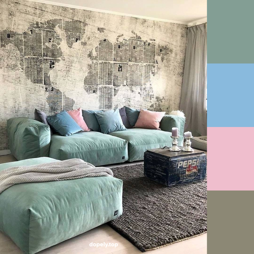 pastel colors in living room decoration and its color palette