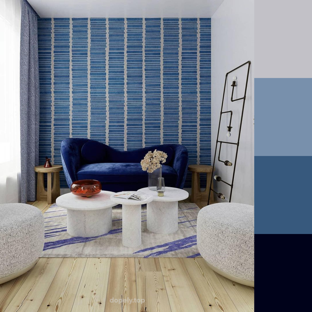 livig room in blue and white and color palette