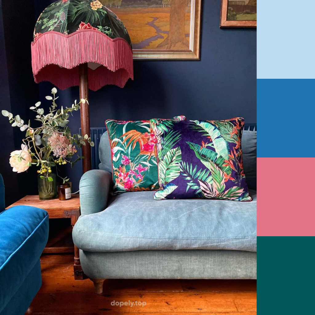 colorful living room and its color palette
