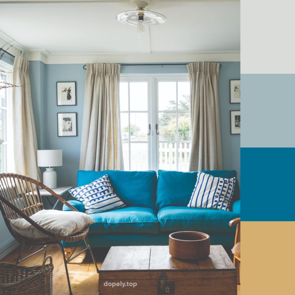 living room in blue and its color palette