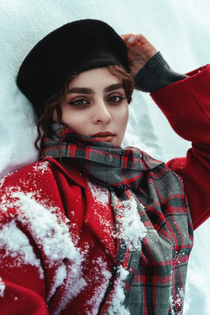 girl in red greatcoat