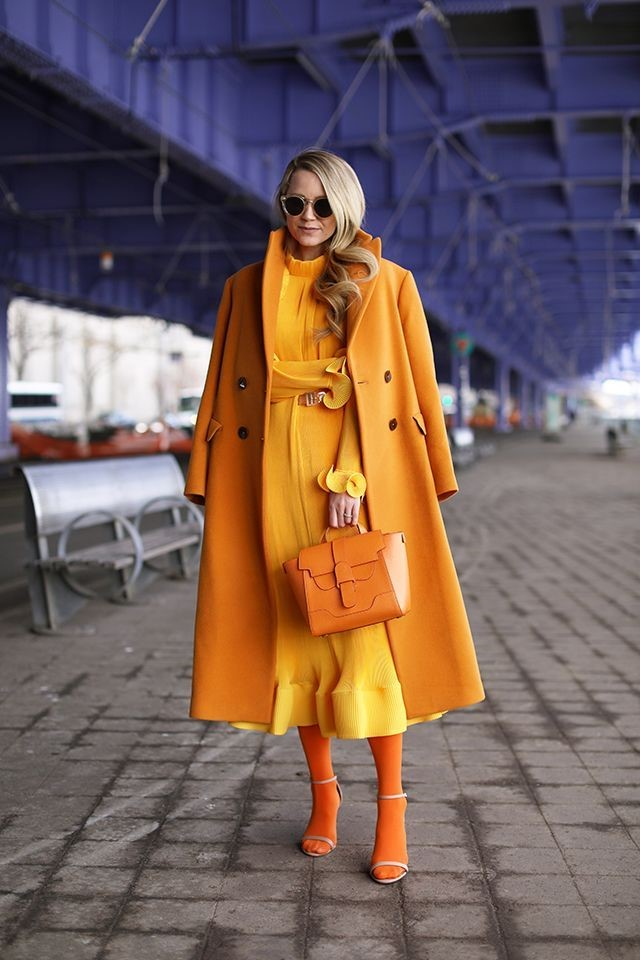 orange monochrome outfit