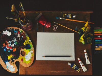 Painter's desk consists of painting equipment