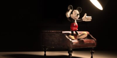 micky mouse figure on the piano