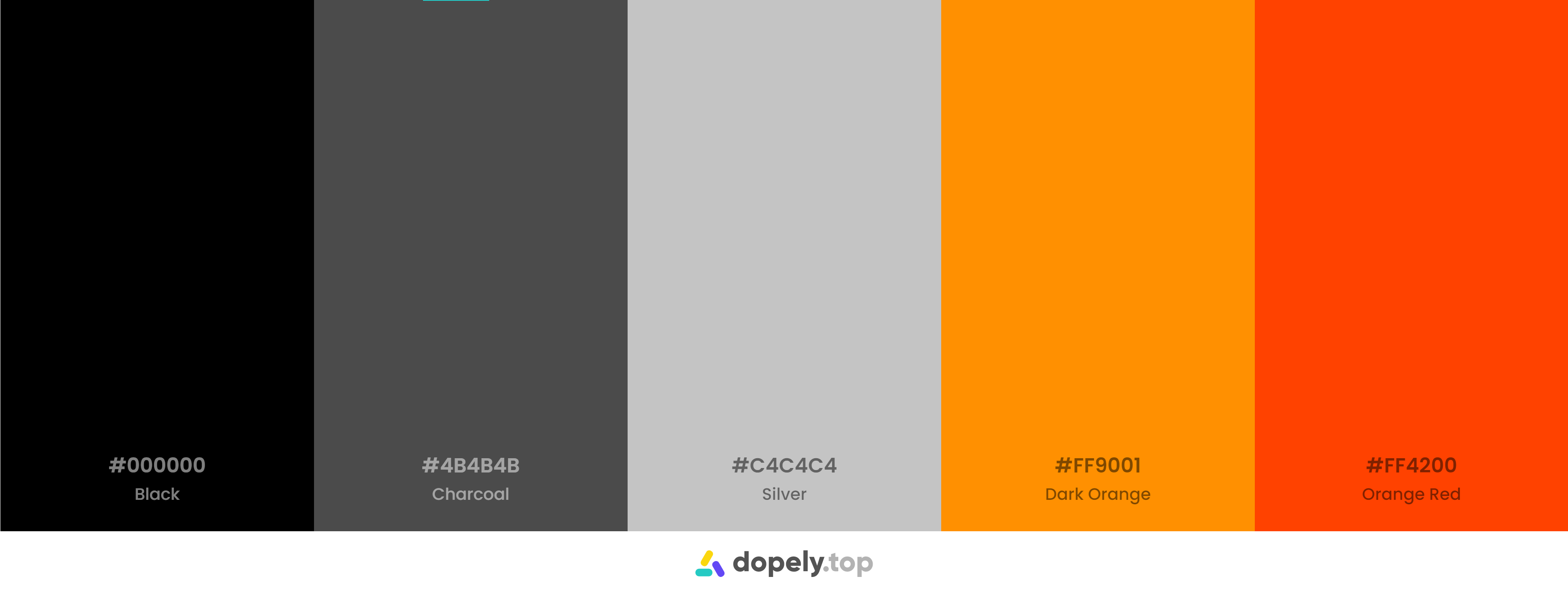 Black orange and red Color Palette Inspirations with Names & hex Codes