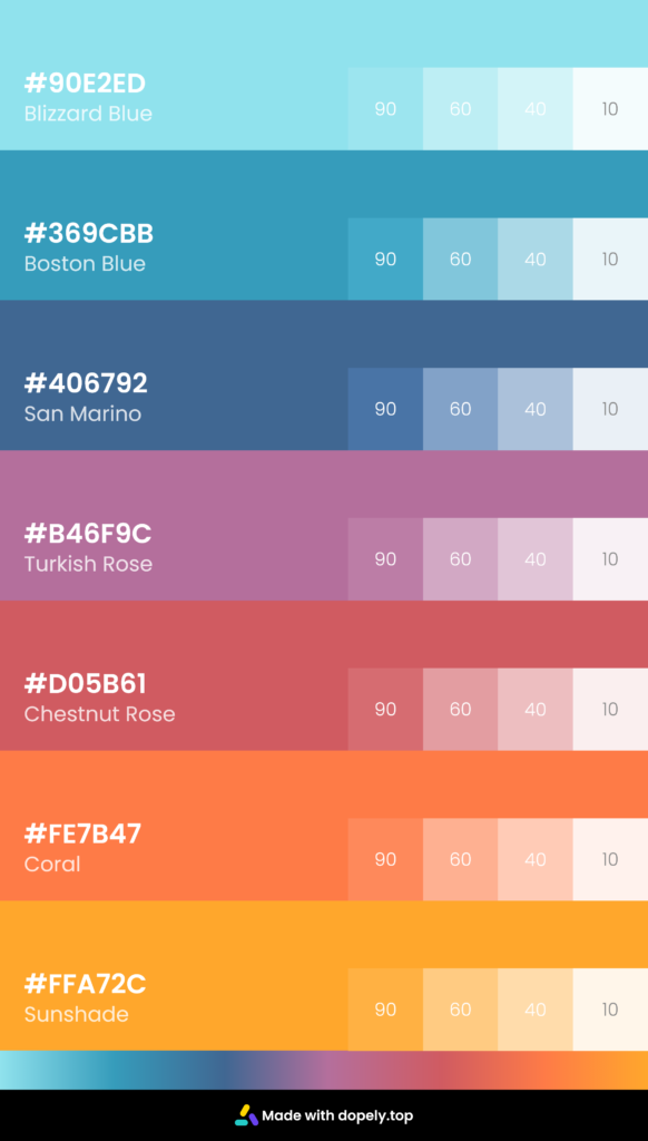 Color palette inspiration with tint colors and hex code and color name
