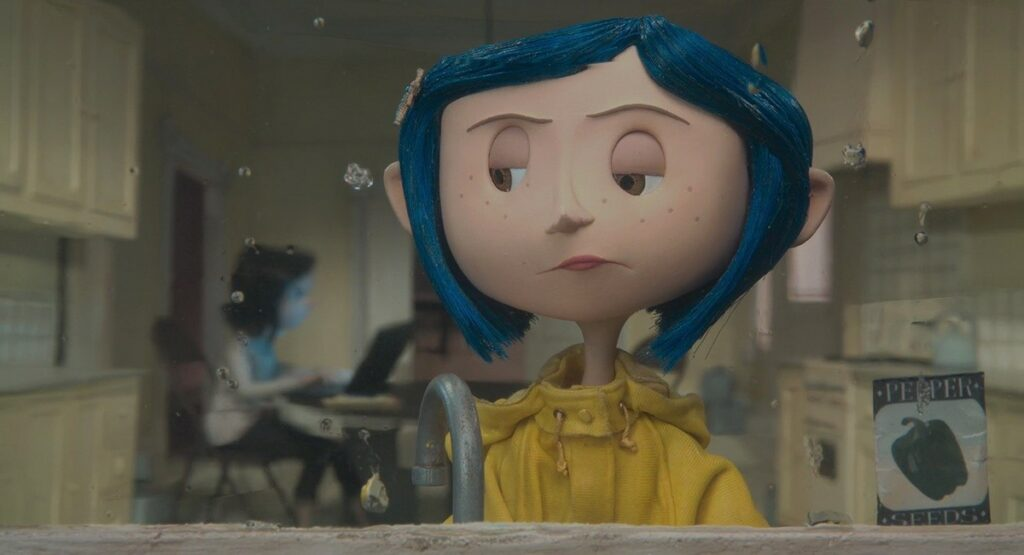 coraline and her mom in their kitchen in coraline animation