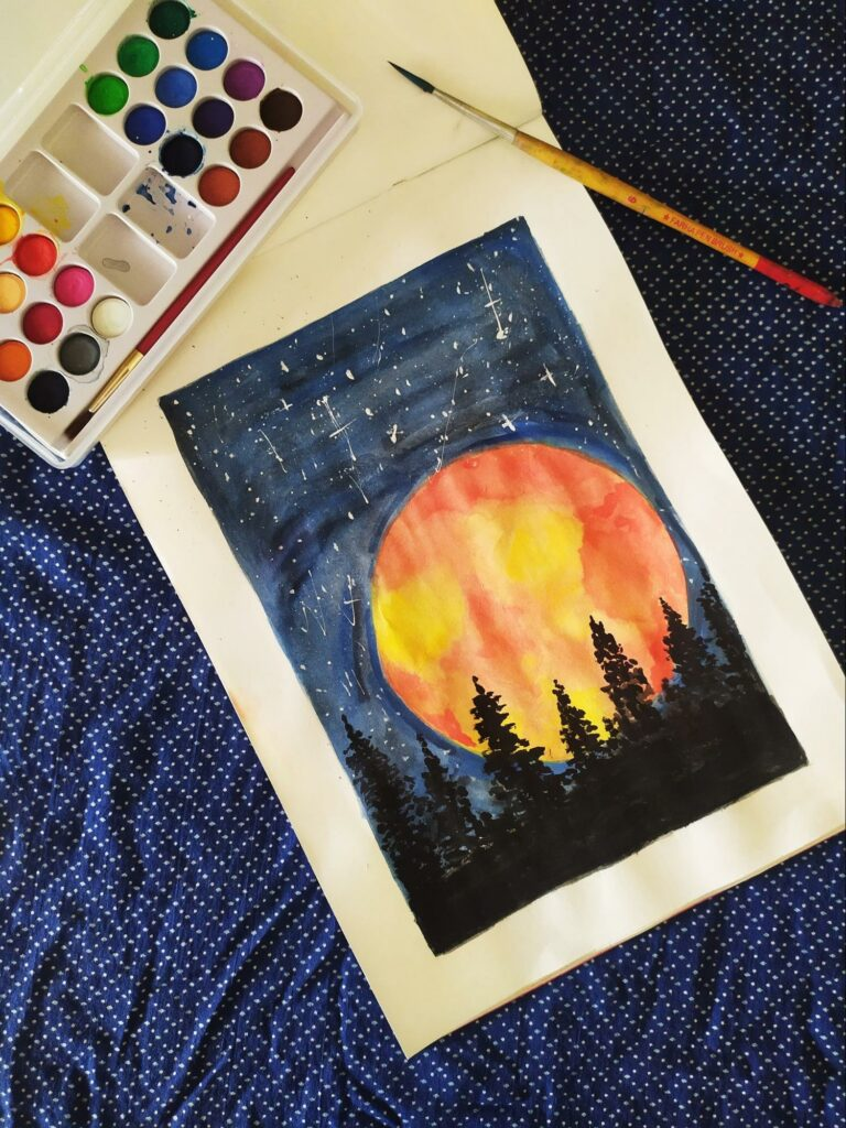 Watercolor painting of a moonlit night