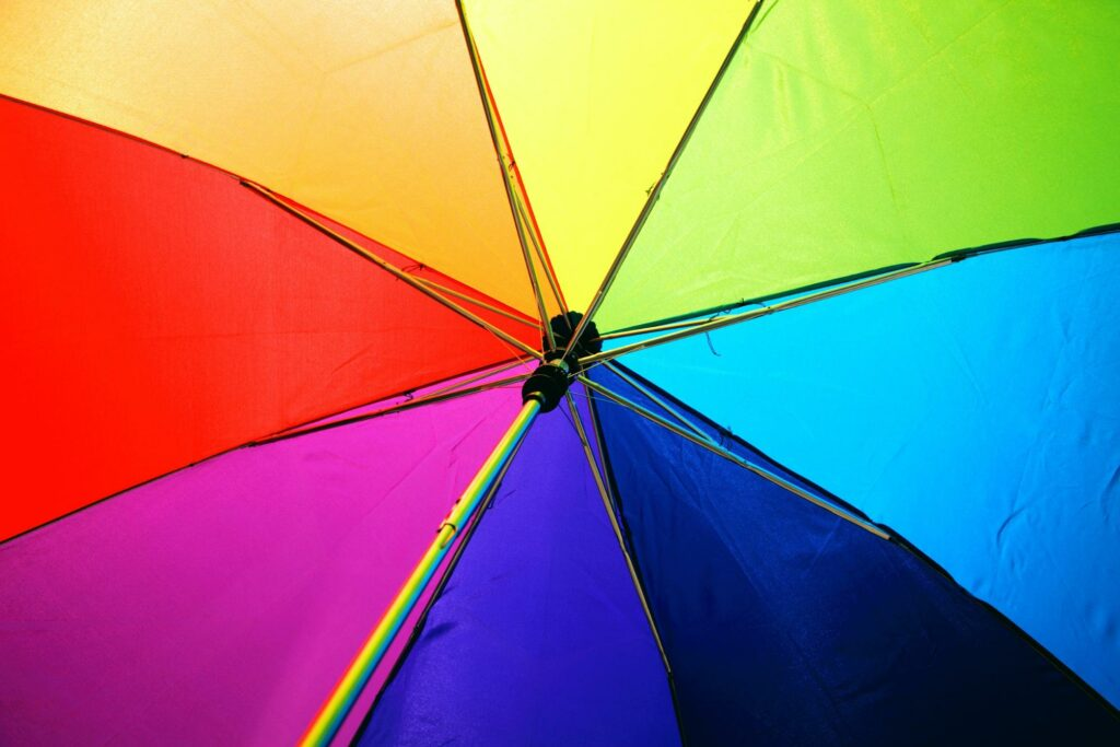 Umbrella with rainbow colors