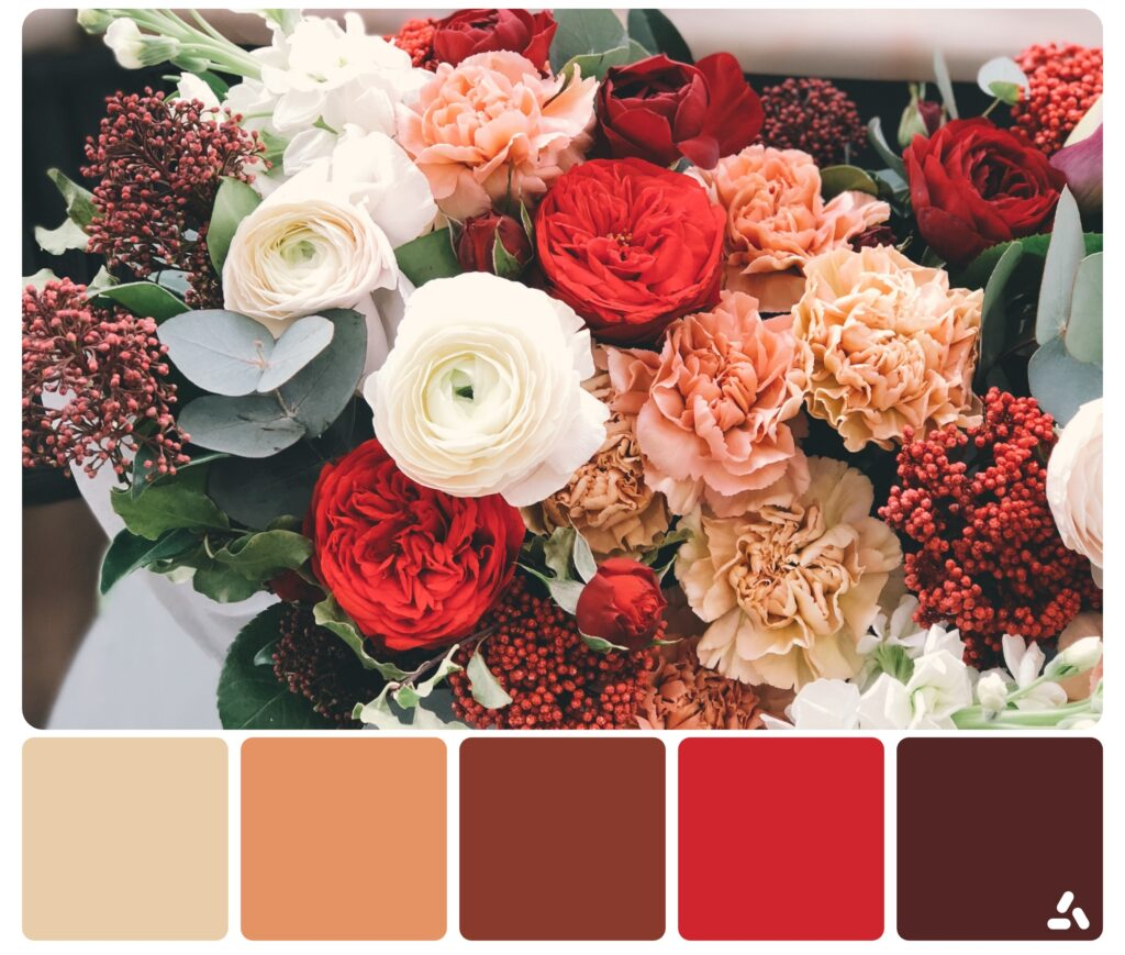 red flowers palette