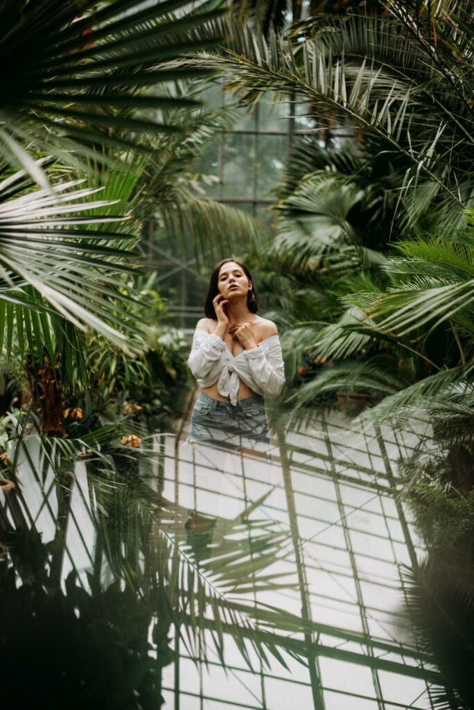 a girl in the flower house